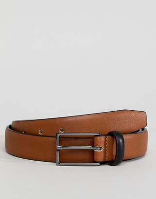 Asos Smart Slim Belt In Tan Faux Leather And Black Contrast Keeper