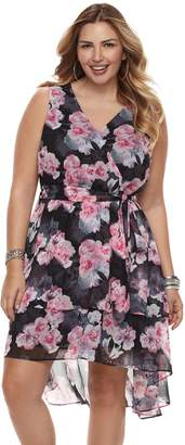 JLO by Jennifer Lopez Plus Size High-Low Ruffle Fit & Flare Dress