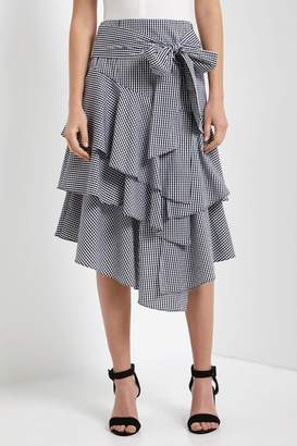 Soprano Gingham Ruffled Skirt