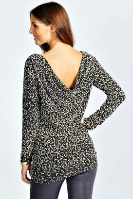 boohoo Long Sleeve Cowl Back Sequin Top