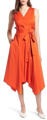 Halogen Sleeveless Poplin Tie Waist Midi Dress