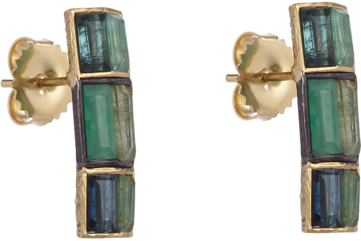 Nak Armstrong Emerald, Mixed Tourmaline & Gold Button Earrings