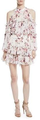 MISA Los Angeles Farren Cold-Shoulder Floral-Print Tiered Mini Dress