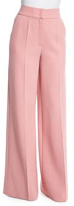 Escada High-Waist Wide-Leg Trousers, Rosehip $1,075 thestylecure.com