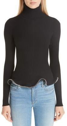 Alexander Wang Ruffle Zipper Hem Sweater