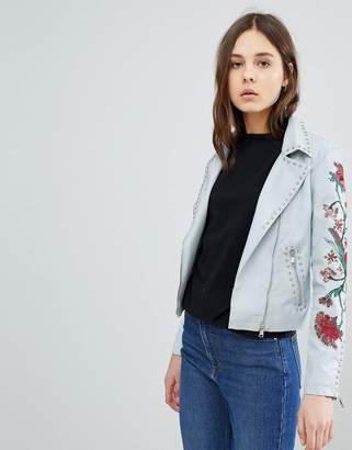 Glamorous Biker Jacket With Embroidery