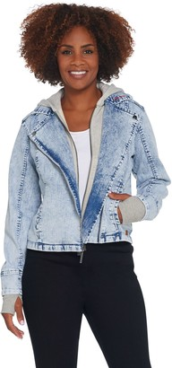 Peace Love World Denim Moto Jacket with Hoodie