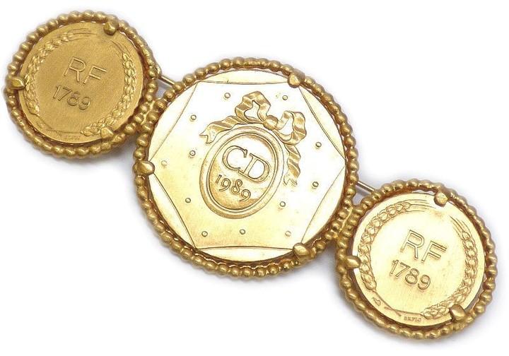 Christian Dior Christian Dior Gold Tone Metal Triple Medal Motif Pin Brooch