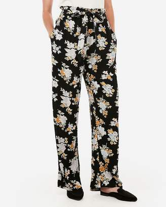 Express High Waisted Floral Sash Tie Wide Leg Pant