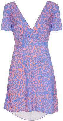 Double Rainbouu leopard print tie-back mini dress