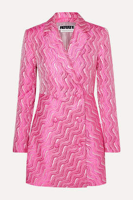 Rotate by Birger Christensen Double-breasted Metallic Jacquard Mini Dress - Bubblegum
