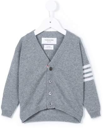 Thom Browne Kids V-neck striped sleeve cardigan