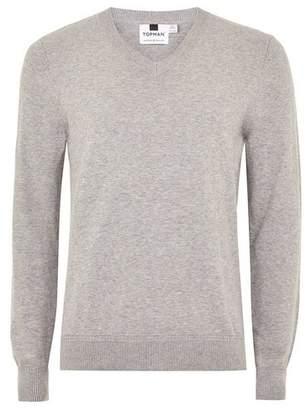 Topman Mens Grey Gray V Neck Hem Stitch Sweater