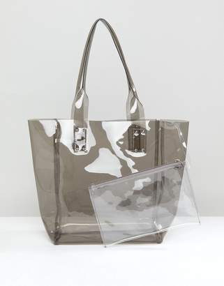 clear Chateau Gray Jelly Tote with Wristlet Clutch
