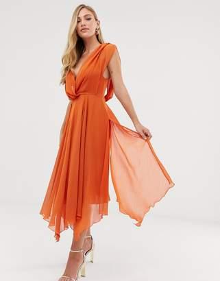 Asos Design DESIGN wrap bodice midi dress with drape back