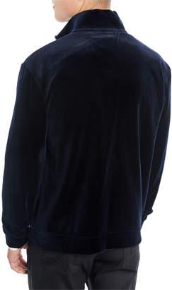 Giorgio Armani Men's Velvet Jersey Zip-Front Jacket