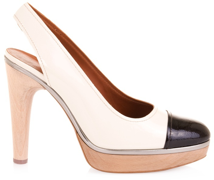 LANVIN - Patent sling-backs with contrast toe
