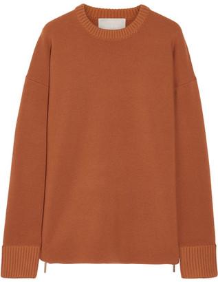 Jason Wu - Oversized Zip-detailed Stretch-knit Sweater - Orange $1,195 thestylecure.com