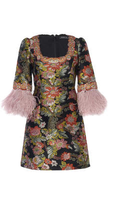 Andrew Gn Feather-Trimmed Floral-Jacquard Mini Dress Size: 36