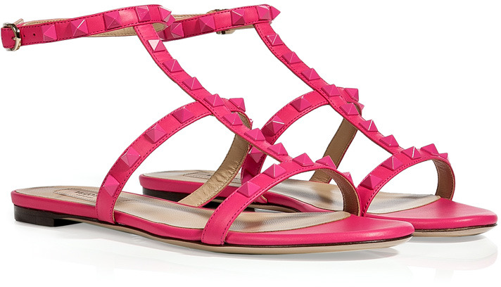 Valentino Fuchsia Leather Tonal Rockstud Sandals