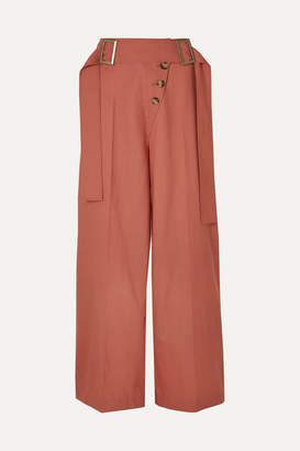 REJINA PYO Stevie Belted Wool Wide-leg Pants - Coral