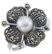 Lord & Taylor 5.5MM Freshwater Pearl Silver Ring