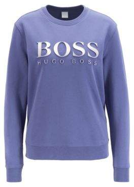 BOSS Cotton terry sweatshirt with three-dimensional metallic logo