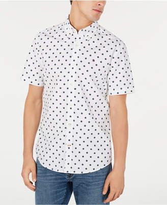 Tommy Hilfiger Men Custom-Fit Abbott Star Print Short Sleeve Button-Down Shirt