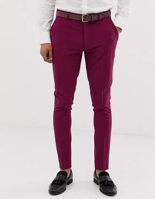 Asos Design DESIGN super skinny smart pants in magenta