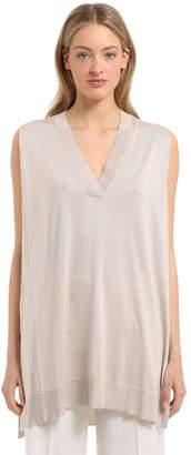 Calvin Klein Collection Fine Silk Knit Sleeveless Top
