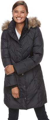 London Fog Tower By Women's TOWER by Quilted Faux-Fur Trim Coat