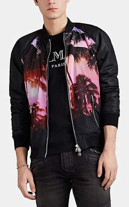 Balmain Men's Beach-Sunset-Print Tech-Taffeta Bomber Jacket - Black