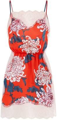 Fleur Du Mal Floral Silk Slip Dress
