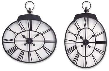 Wayfair Oversized 2 Piece Oval Wall Clock Set