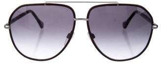 Balenciaga Leather-Trimmed Aviator Sunglasses