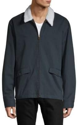 Faux Fur-Collar Full-Zip Jacket