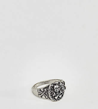 Reclaimed Vintage Inspired Skull Signet Ring In Silver Exclusive To Asos
