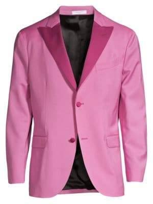 Boglioli Men's Peak Lapel Single-Breasted Virgin Wool Blazer - Pink - Size 48 (38) R
