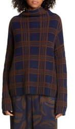 Vince Tartan Plaid Funnel Neck Wool & Cashmere Sweater