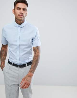 Asos DESIGN wedding regular fit linen shirt in blue