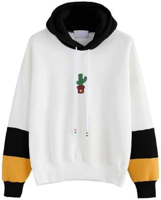 Susenstone Womens Spell Color Long Sleeve Cactus Print Stitching Hoodie Sweatshirt Hooded Pullover Tops Blouse (XL, )