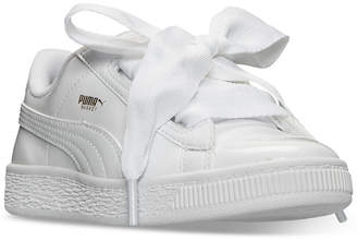 Puma Little Girls' Basket Heart Patent Casual Sneakers from Finish Line $59.99 thestylecure.com