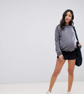 Asos DESIGN Maternity chino shorts in navy with under the bump waistband