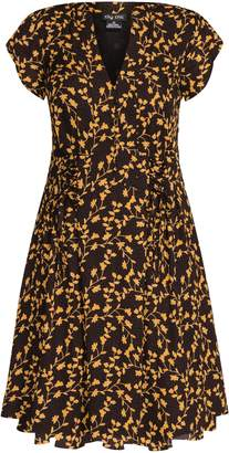 dddcff9a62 Evans   City Chic Brown Leaf Printed Dress