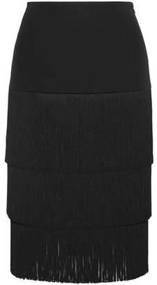 Michael Kors Tiered Fringed Crepe Skirt