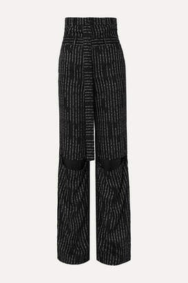 Unravel Project Cutout Jacquard Straight-leg Pants - Black