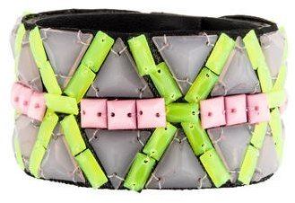 Andrew Gn Andrew Gn Beaded Leather Cuff