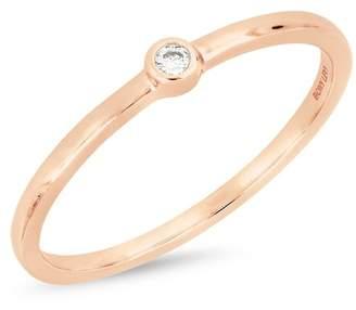 Bony Levy 18K White Gold Bezel Set Faceted Diamond Ring - 0.02 ctw