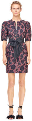 Rebecca Taylor Floral Brocade Dress With Taffeta Bow