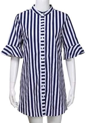 Hatoys Women Horn Sleeve Striped Half Sleeve Tops Long Suit Blouse (XL, )